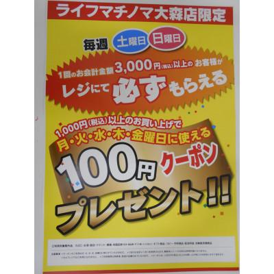 毎週土・日曜日100円引クーポン配信!!